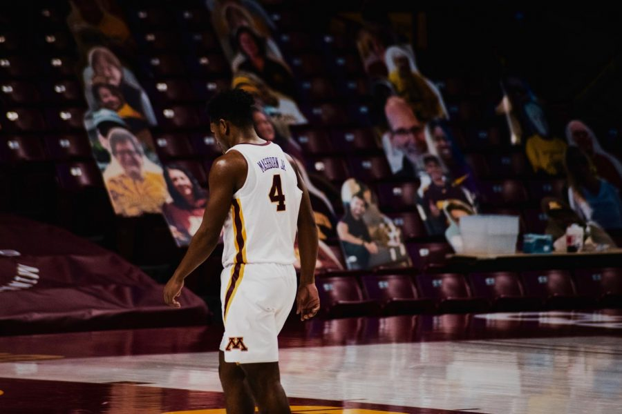 Jamal Mashburn Jr. walks to the other end of the court during the second period against Illinois at Williams Arena on Saturday, Feb. 20. Illinois beat the Gophers with a final score of 94-63.