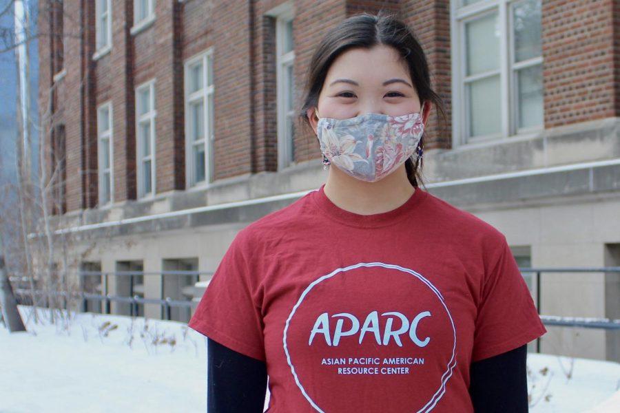 Haruka Yukioka poses for portraits outside of Appleby Hall on Wednesday, Feb 10. Yukioka is a student ambassador of the Asian Pacific American Resource Center.
