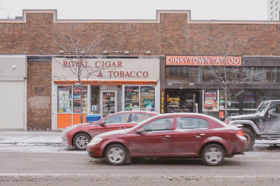 The site of Royal Cigar and Tobacco in Dinkytown on Wednesday, Feb 17. Dr. Dana Carroll, an assistant professor in the Division of Environmental Health and Sciences, is working with native communities to make a smoking cessation program.