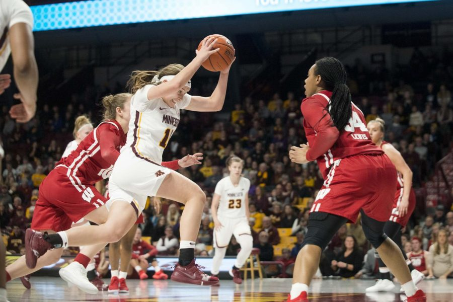 Guard Sara Scalia drives towards the hoop at Williams Arena on Wednesday, Jan. 22, 2020.