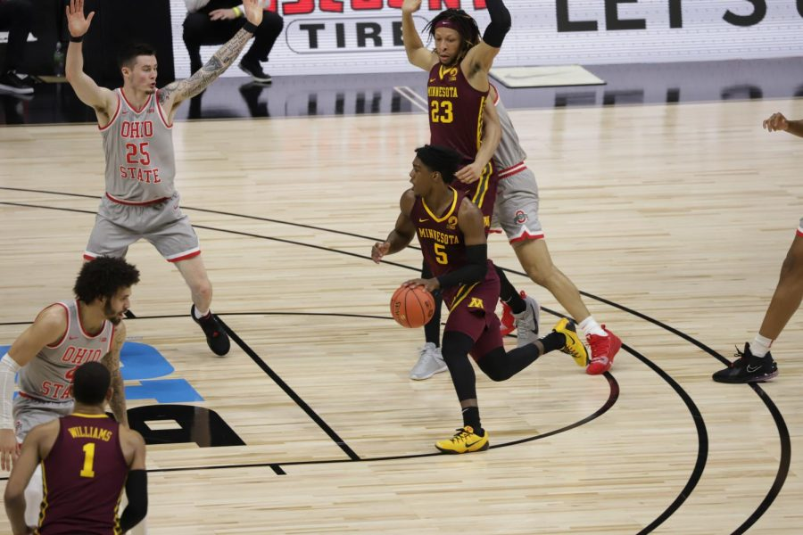 The Gophers played Ohio State at Lucas Oil Stadium in Indianapolis, Indiana on Thursday, March 11, 2021. The Gophers lost to the Buckeyes 75-79.