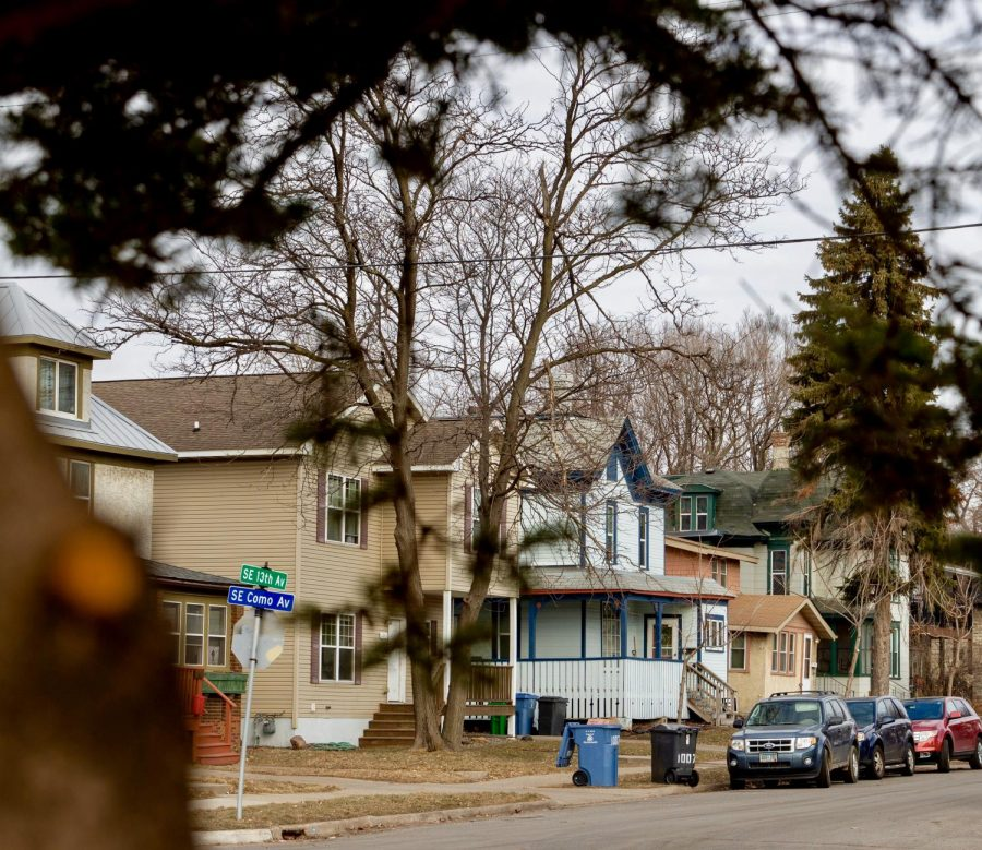 Houses on 13th Avenue Southeast in Southeast Como on the morning of Tuesday, March 9. Minneapolis is considering a proposal for rent stabilization.