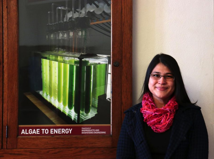 Biologist Adriana Alvarez De la Hoz poses for a portrait in the Biosystems and Agricultural Engineering Building on Monday, March 1. Alvarez De la Hoz conducted a literature review study on the uses of algae as an organic substitute for synthetic fertilizers.