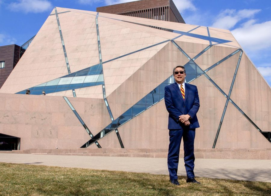 Former University of Minnesota Board of Regents member Michael Hsu poses for a portrait outside of McNamara Alumni Center on Tuesday, March 30. After serving one term on the board, Hsu will not be returning.