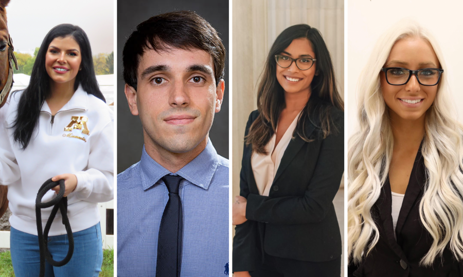 From left to right: Rielle Perttu Swanson, candidate for COGS president; Federico Facciolo, candidate for COGS vice president; U.J. Bhowmik, candidate for PSG president; and Victoria Anderson, candidate for PSG vice president.