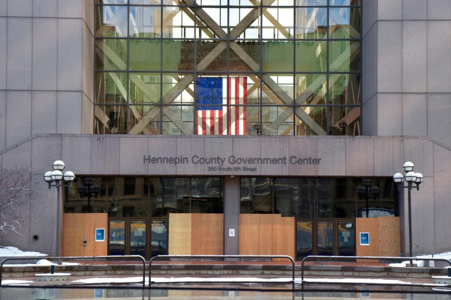 The Hennepin County Government Center, on Sunday, Feb. 28. The trial of Derek Chauvin, the police officer charged with the murder of George Floyd, will be held here starting on March 8.