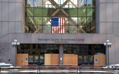 The Hennepin County Government Center, on Sunday, Feb. 28. The trial of Derek Chauvin, the police officer charged with the murder of George Floyd, started on March 8 2021.