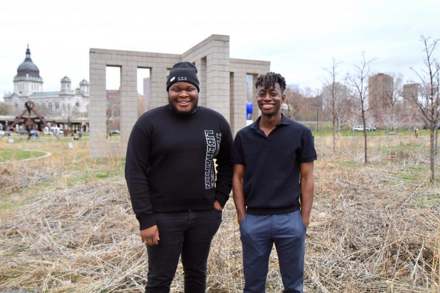 "Rejected Sound creator Mark Khan and filmmaker Justin ""jojo"" Ofori-Atta pose for a portrait at the Minneapolis Sculpture Garden on Saturday, April 10.  Rejected Sound made its debut Saturday and will serve as a platform to showcase the talents of various DJs and artists."