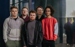 "Members of the local band Distant Edge pose for a portrait outside the Guthrie Theatre on Tuesday, April 27 in Minneapolis, Minnesota From left to right, Sam Swanson on the keys, Nate Erickson on guitar, Nolan Litschewski as lead singer, Aaron Eiden on bass guitar and Jahmal Fischer on drums. ""This feels like a really momentous occasion for us, it's very complete and cohesive and I'm really proud of it,"" said Swanson on the release of their debut album."