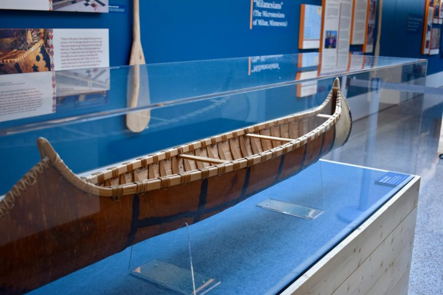 "The new ""Why Canoes?"" exhibit located in the Northrop gallery on Tuesday, April 13. The exhibit was curated by University of Minnesota graduate student Jacob Bernier, American Indian Studies professor Dr. Vicente Diaz and former University student Chrissy Goodwin."