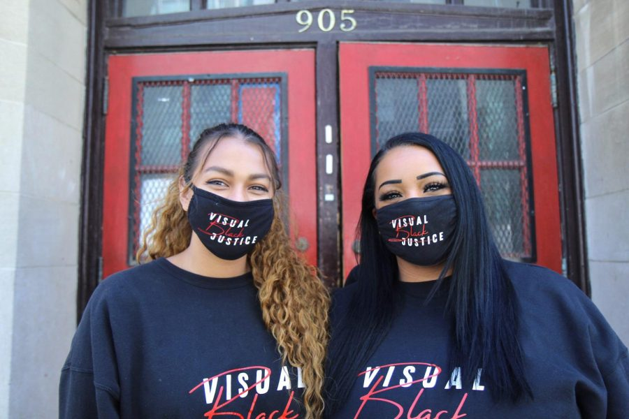 Visual+Black+Justice+President+Tay+Elhindi+and+Founder+Athena+Papagiannopoulos+pose+for+a+portrait+in+Minneapolis+on+Saturday%2C+April+17.+Visual+Black+Justice+works+to+amplify+Black+voices+and+show+that+art+can+also+be+a+form+of+activism.