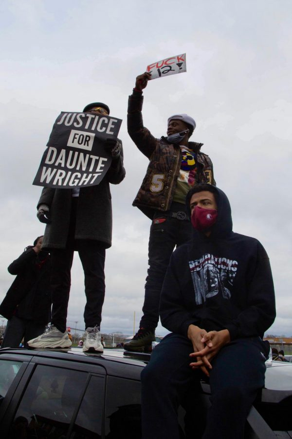 Following the police killing of 20 year old Daunte Wright, protests formed outside the Brooklyn Center Police Department and Kenyan Community SDA Church on Monday, April 12.