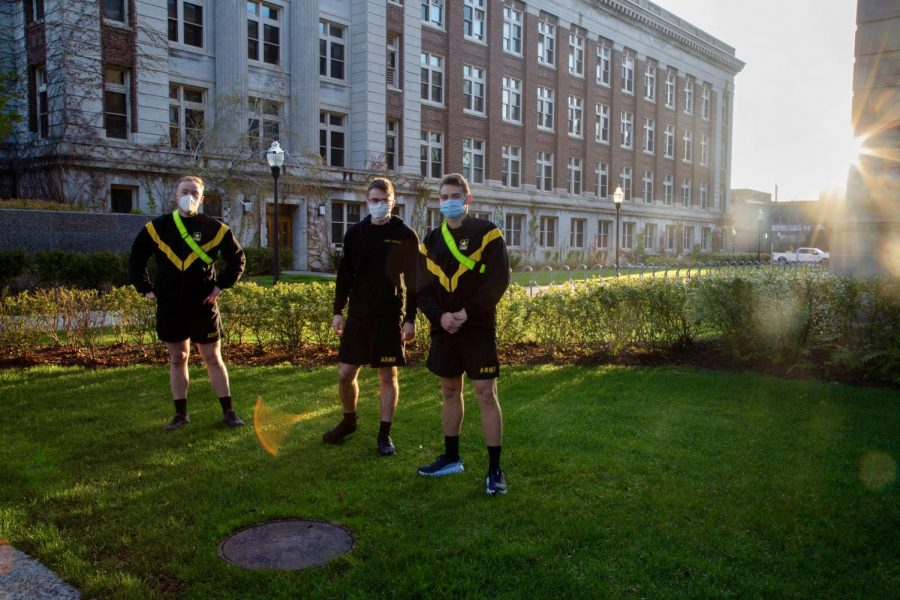 7:32 a.m. Army ROTC members train in the Northrop mall.