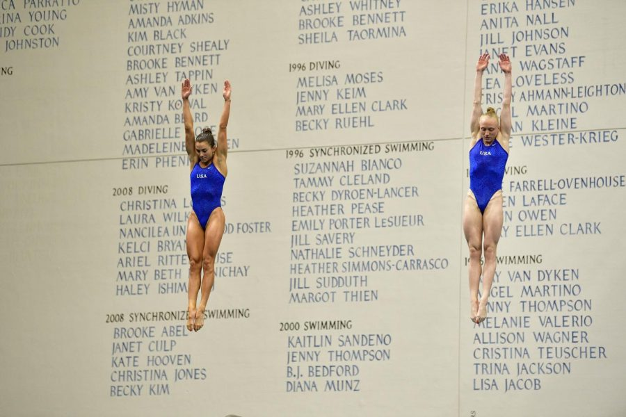 Kassidy Cook (left) and Sarah Bacon (right) compete at the U.S. Olympic Diving Trials on Thursday, June 10.