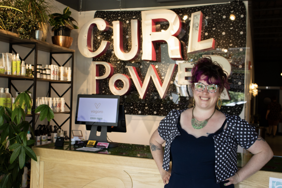 Co-owner of Curl Power Rosie Jablonsky poses at her salon in Minneapolis on Sunday, June 13.