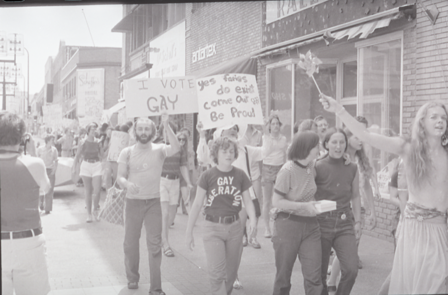 FREE members participating in one of their many pickets. Founder Koreen Phelps can be seen in a dark sleeveless turtleneck to the right. Photo courtesy of the Jean-Nickolaus Tretter GLBT Collection.