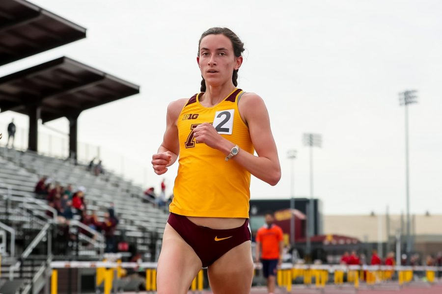 Bethany Hasz competes at the University of Minnesota Track and Field stadium on Friday, April 30.