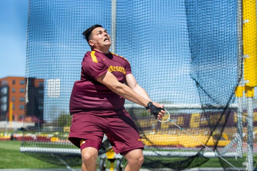 Kostas Zaltos competes at the University of Minnesota Track and Field stadium on Friday, April 30.