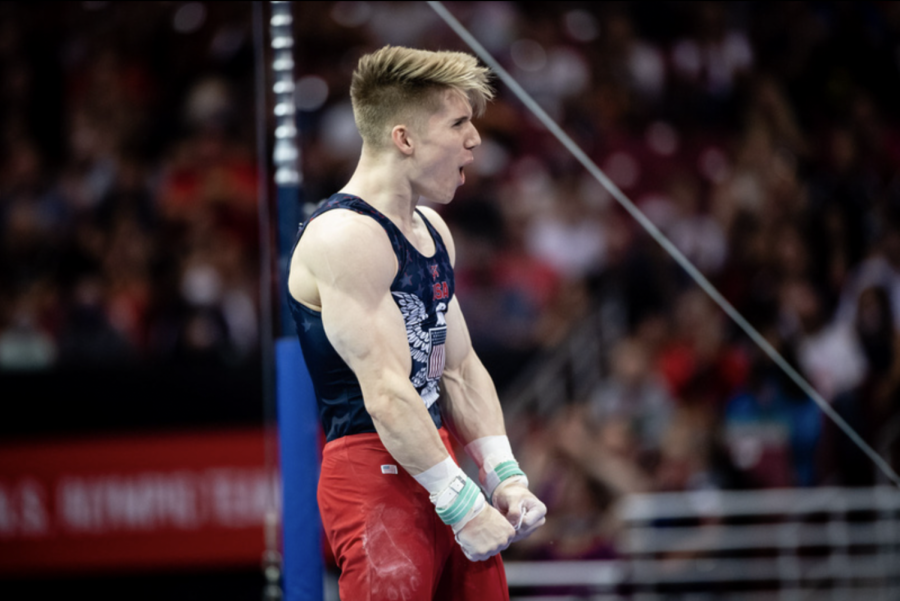 Shane+Wiskus+competes+on+Day+Two+of+the+men%E2%80%99s+U.S.+Olympic+Artistic+Gymnastics+Team+Trials+on+Saturday%2C+June+26%2C+2021%2C+at+The+Dome+in+St.+Louis%2C+Mo.+Photo+courtesy+of++John+Cheng.