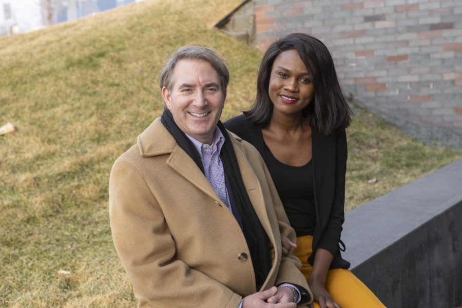 Mark Globus poses with his girlfriend, Sabrina Lukalu, for a portrait outside the Walker Art Center in Minneapolis. Photo courtesy of Mark Globus.