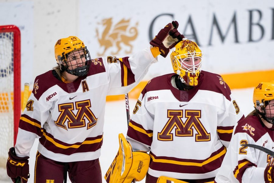 Olivia Knowles (Left), Lauren Bench (Middle) and Emily Brown (Right) celebrate the Gophers season opener 4-0 victory over Ohio State University on Saturday, Nov. 21, 2020. Photo courtesy of Brad Rempel of Gopher Athletics.