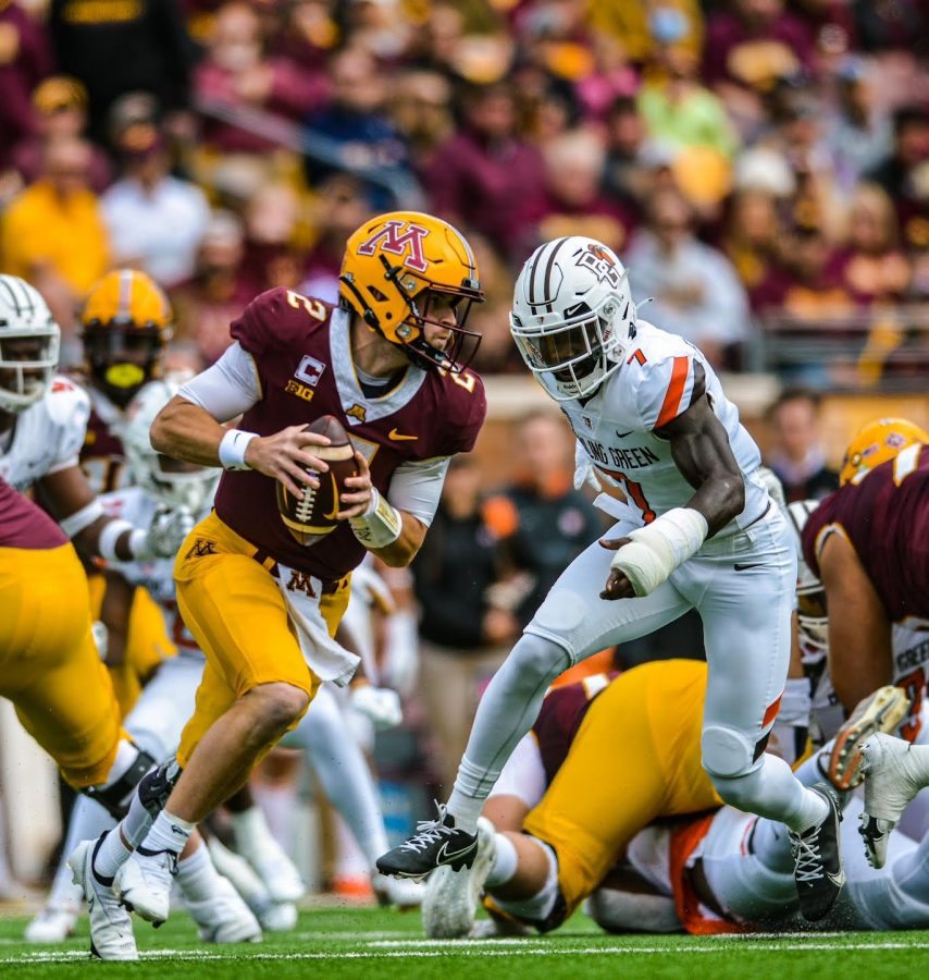 Eyes ahead, quarterback Tanner Morgan looks to pass the ball during the Gophers football game against Bowling Green at Huntington Bank Stadium, Saturday, Sept. 25. The Gophers fell to the Falcons, 14-10.