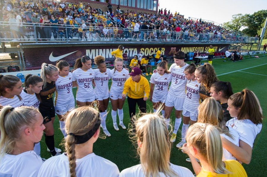 The Gophers huddled up in a match earlier this season against Wisconsin on Saturday, Sept. 18, 2021, at Elizabeth Lyle Robbie Stadium in Falcon Heights, Minn.