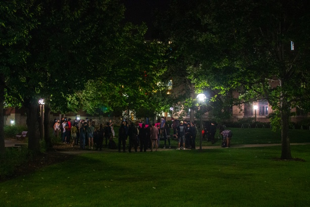 Students gather outside Cooke Hall for a UMN against Frats protest on Friday, Sept. 10.