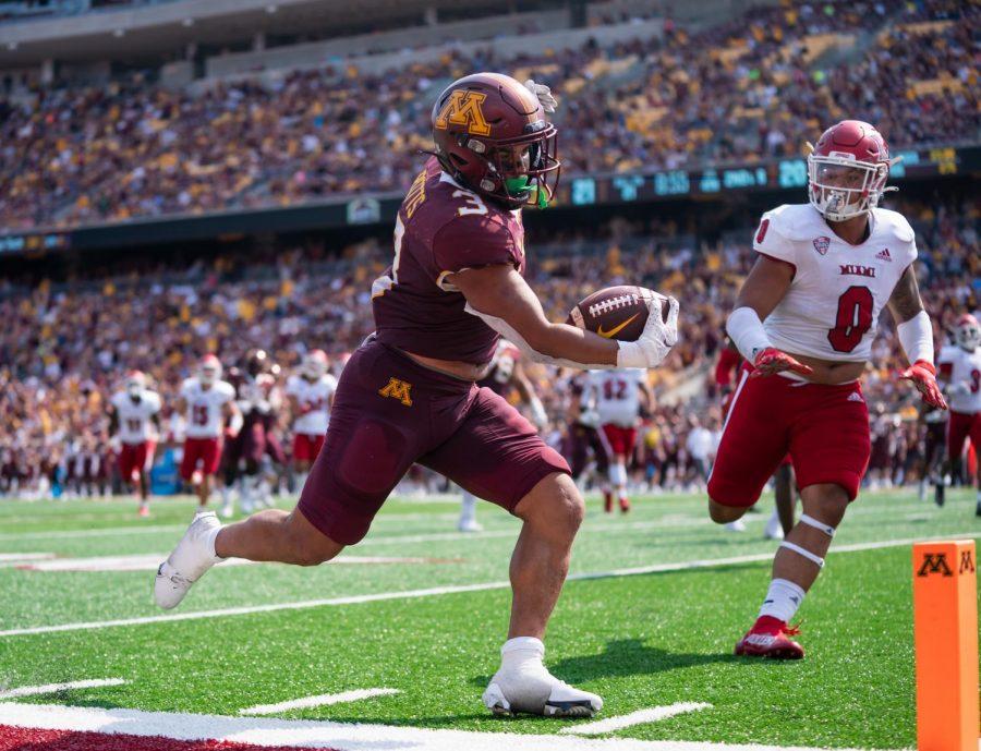 Redshirts sophomore Trey Potts scores a touchdown against the University of Miami-Ohio on Staurday, Sept. 11, 2021, at Huntington Bank Staduim in Minneapolis, Minn.
