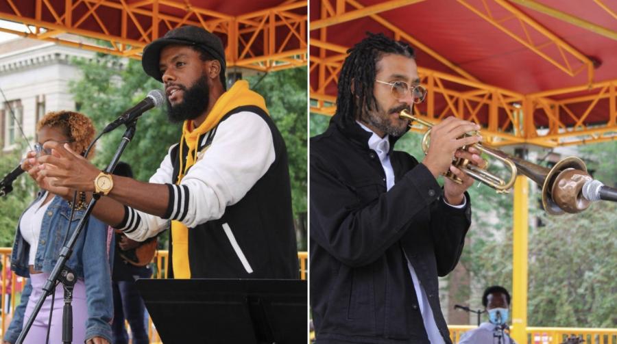 Joe Davis & The Poetic Diaspora performs for Northrop's Amplifying Solidarity concert series on Thursday, Sept. 2.