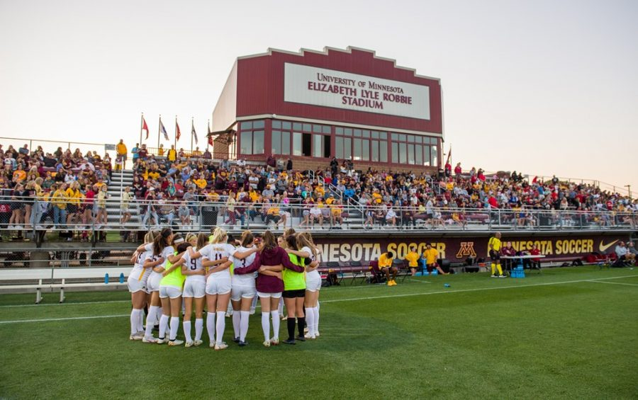 The Gophers huddled up before competing in their first Big Ten matchup this season against the Wisconsin Badgers on Saturday, Sept. 18, 2021, at Elizabeth Lyle Robbie Stadium in Falcon Heights, Minn.