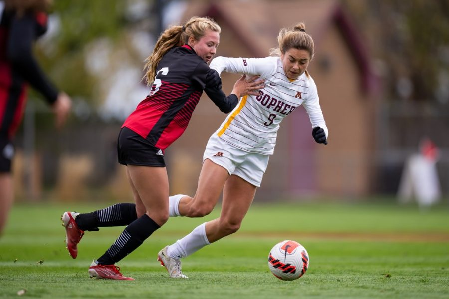 Sophomore Sophia Boman fights for possession of the ball in a match against Nebraska on Sunday, Oct. 24, 2021, at Elizabeth Lyle Robbie Stadium in Falcon Heights, Minn.