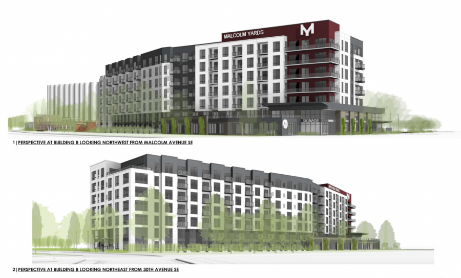 A rendering of the Flats at Malcolm Yards, which is set to break ground in early 2022 and will be a six-story building with 143 workforce, or affordable housing, units. Photo courtesy of Wall Companies.