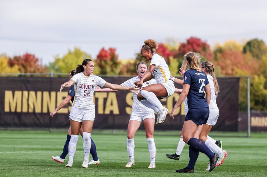 Senior+Patricia+Ward+jumps+for+joy+after+scoring+her+first+goal+this+season%2C+which+would+eventually+be+the+match-winning+goal+against+Penn+State+on+Sunday%2C+Oct.+3%2C+at+Elizabeth+Lyle+Robbie+Stadium+in+Falcon+Heights%2C+Minn.