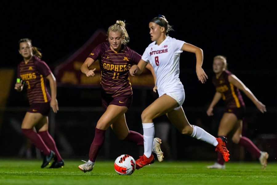Freshman Lauren Donovan fights for possession of the ball in a match against Rutgers on Thursday, Sept. 30, 2021, at Elizabeth Lyle Robbie Stadium in Falcon Heights, Minn.