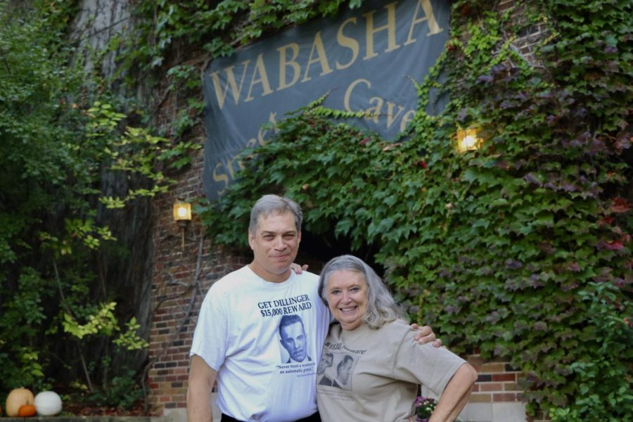 Tour guides Brett Williams and Deborah Frethem pose for a portrait in front of the Wabasha Street Caves on Saturday, October 9. The caves that closed due to COVID-19 have recently re-opened and are now offering historical tours and swing nights.