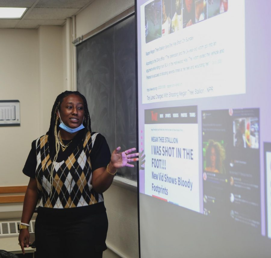 Student leader Bethany Tamrat presents during the Black Motivated Women meeting on Black Women in Media, Thursday, Oct. 14. The students discussed different ways they see Black women portrayed in cinema and music.